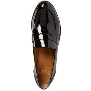 Black patent leather loafers